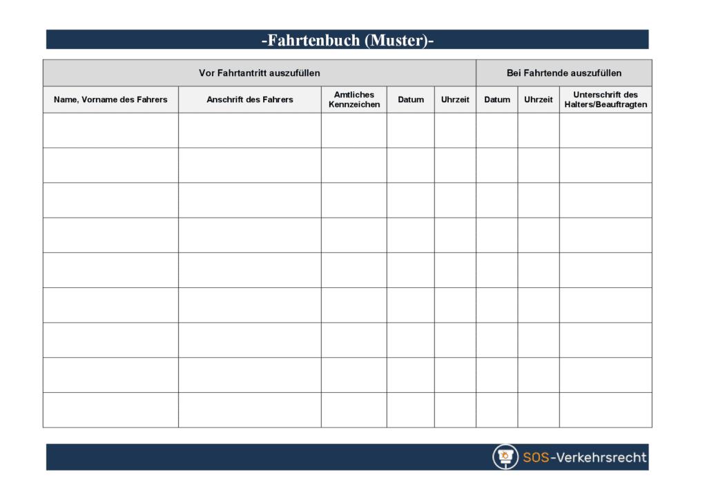 Muster für ein Fahrtenbuch: Für PDF-Download bitte auf das Bild klicken.