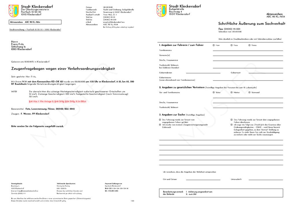 Muster: Zeugenfragebogen wegen erfasster Geschwindigkeitsüberschreitung (2 Seiten)